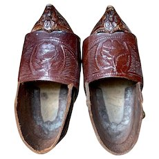 Beautifully Constructed Wooden and Leather Shoes