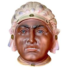 """4 1/2"""" German All Bisque covered tobacco jar portraying Native American Chief"""