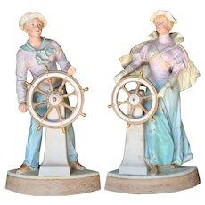 "Rare 15"" All bisque pair Gebruder Heubach Edwardian era ""Seafarers"""