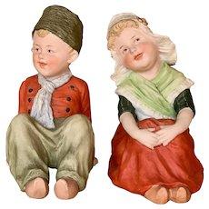 "7 1/2"" tall pair All Bisque Gebruder Heubach ""Dutch Children"""