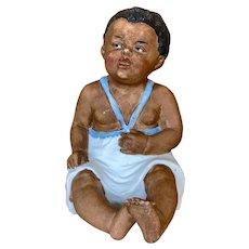 """5"""" tall All Bisque seated Gebruder Heubach brown bisque child"""
