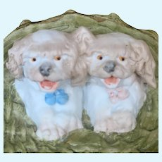German All Bisque figurine of two puppies