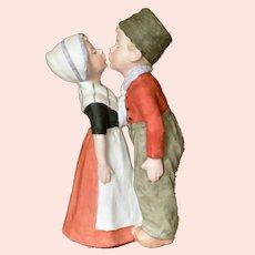 "Large 10"" Gebruder Heubach figure kissing Dutch children"