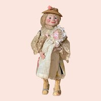 """14"""" Roullet & Decamp mechanical doll/toy (Tata)"""
