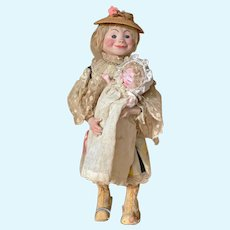 "14"" Roullet & Decamp mechanical doll/toy (Tata)"
