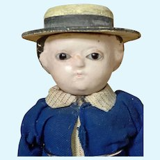 "Rare 7 1/2"" Glass Eyed ""Motschmann"" Boy Doll/Squeak Toy"