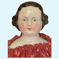 "Slightly different 27"" 1860's China Shoulder Head doll"