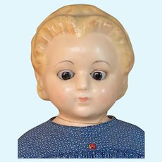 """Charming 24"""" Glass Eyed Wax-over-Papiermache with molded hair and headband"""