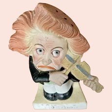 "Comical bisque figure by Schaefer Vater "" The Violinist """