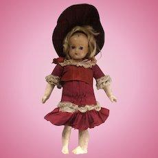 Unusual wax over wood doll, German circa 1880