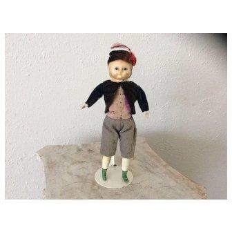 Sweet small size wax over composition pumpkin head boy doll, German circa 1860