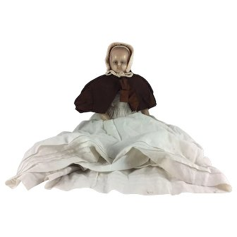 Large early English poured wax doll, circa 1860