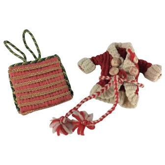 Miniature bag and knitted jacket