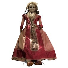 Wax over composition 'mad Alice' shoulder head doll, English circa 1860