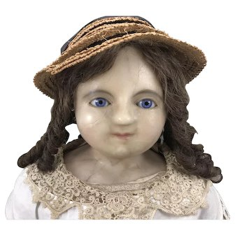 Fabulous large early English wax over composition shoulder head doll, circa 1860