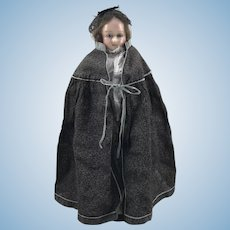 Sweet early English wax over composition shoulder head doll, circa 1860