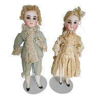 """French Belton 8"""" Pair Bisque Closed Mouth Boy & Girl All Original Clothing"""