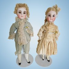 "French Belton 8"" Pair Bisque Closed Mouth Boy & Girl All Original Clothing"