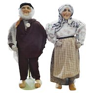"Huge! Museum Quality 22"" French Ravca Cloth Stockinette Man & Woman w/Tag"