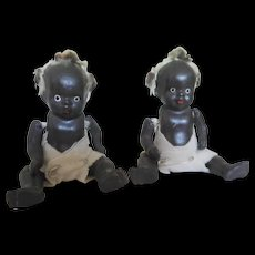 "Vintage 3.75"" Black Bisque Porcelain African American Topsy Twins Baby Japan"