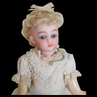 "Antique German 4.5"" Bisque Head Girl w/ Original Clothes & Wig"