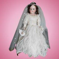 """Antique Kestner """"N"""" German Bisque 27"""" Turned Shoulder Head Bride"""