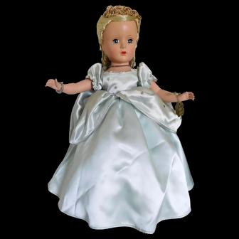 "Vintage 1950's Alexander 14"" Rich Cinderella Hard Plastic w/ Glass Slippers & Clover Tag"