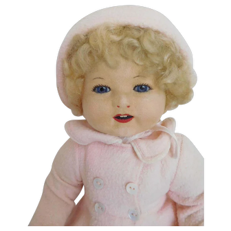 """Rare!  17"""" Vintage Chad Valley Royalty Glass Eye Baby Toddler w/Original Clothes"""