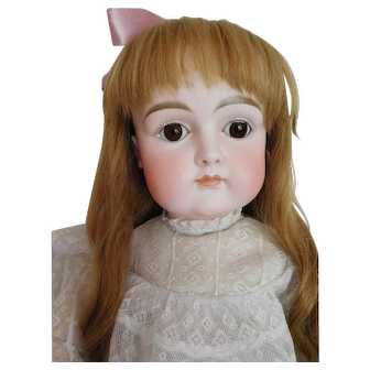 """Early Antique Kestner Closed Mouth 27"""" Bisque Child w/ Square Cheeks"""