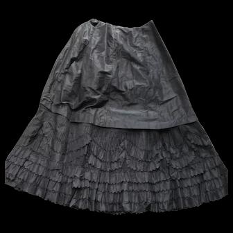 Antique 19th Century Women's Black Silk Taffeta Ornate Long Ruffled Skirt Victorian