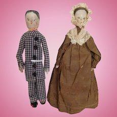 """Antique 19th Century 9"""" Peg Wooden Pair in Original Clothes"""