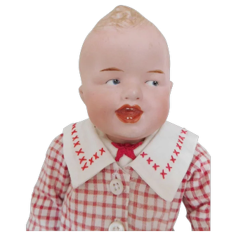 """Antique German 16"""" Gebruder Heubach 8191 Charater Bisque Laughing Boy"""