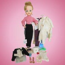 "Vintage 19"" Uneeda Dollikin Fashion Doll w/Extra Clothes & Accessories"