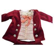 """Handmade 3 Piece Boy Doll Suit Vintage Velvet & Antique Lace 19""""-20"""" Doll"""