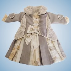 "Elegant Antique Reproduction Dress for 19""-20"" French or German Doll"