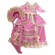 "Antique Reproduction French Fashion 2 Piece Dress with Hat for 22"" Doll"