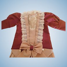 "Silk Antique Reproduction Pleated Dress for 18""- 20"" Doll"