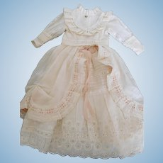 """Antique Reproduction Fashion or Lady Dress Anitque Cotton Fabric for 24"""" Doll"""
