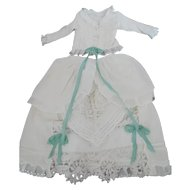"""Antique Cotton for Approx. 22"""" Fashion or Lady Doll 2 Piece Outfit Fully Lined Hand Embroidery"""