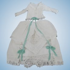 "Antique Cotton for Approx. 22"" Fashion or Lady Doll 2 Piece Outfit Fully Lined Hand Embroidery"