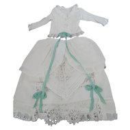 "Antique Cotton 2 Piece Fashion Dress for 22"" Fashion or Lady Doll"