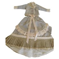 """Fashion or Lady Dress with """"Bustle"""" Silk Fabric & Antique Lace for Approx. 16"""" Doll"""