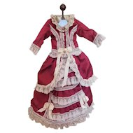 """Exquisite Antique Reproduction 2 Piece Fashion or Lady Dress Outfit for Approx. 22"""" Doll"""