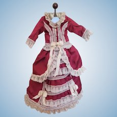 "Exquisite Antique Reproduction 2 Piece Fashion or Lady Dress Outfit for Approx. 22"" Doll"