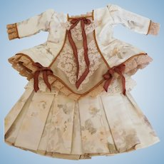 """Antique Hand Pleated 2 Piece Silk Dress & Cotton Lace All Lined for 18""""-20"""" Doll"""