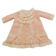 """Antique Reproduction Handstitched Silk & Lace Coral Peach Dress for Approx. 7"""" Doll"""