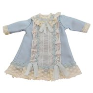 """Antique Reproduction Blue Silk Fabric & Lace Hand Stitched Dress for Approx. 7"""" Doll"""