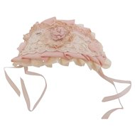 Antique Silk Fabric & Lace Pink Bonnet Hat for Small Doll