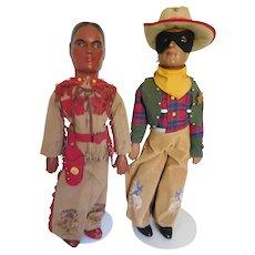 "Rare! Vintage 20"" Lone Ranger & Tonto Composition Figures Dolls All Original"