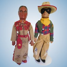 "Rare! Vintage 20"" Lone Ranger & Tonto Composition Figures Dolls All Original"